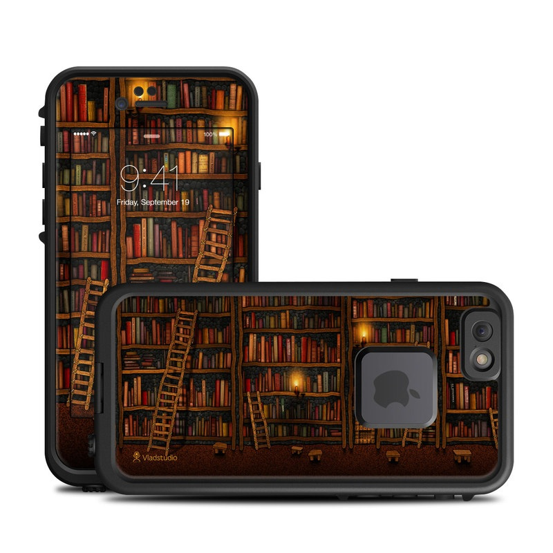 LifeProof iPhone 6s fre Case Skin design of Shelving, Library, Bookcase, Shelf, Furniture, Book, Building, Publication, Room, Darkness with black, red colors