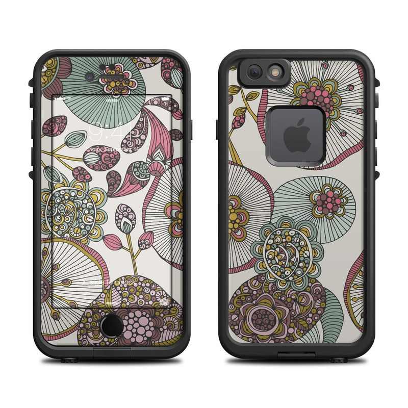 LifeProof iPhone 6s fre Case Skin design of Pattern, Textile, Botany, Visual arts, Motif, Design, Needlework, Circle, Floral design with gray, pink, green, blue, purple colors