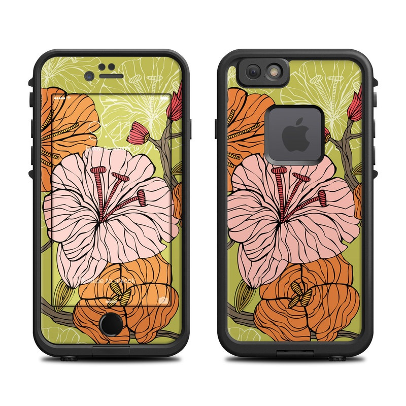 LifeProof iPhone 6s fre Case Skin design of Leaf, Flower, Plant, Pattern, Botany, Floral design, Design, Illustration, Visual arts, Morning glory with green, orange, pink, blue, brown colors
