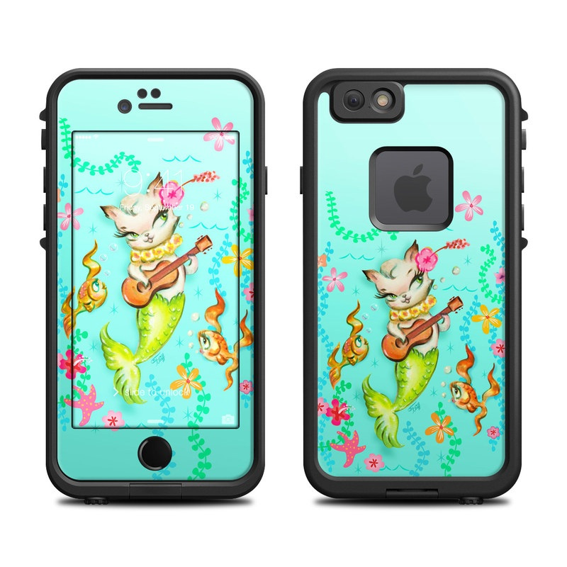 LifeProof iPhone 6s fre Case Skin design of Fictional character, Illustration, Mermaid, Mythical creature, Clip art, Art with blue, green, pink, yellow, orange, white, gray, brown colors