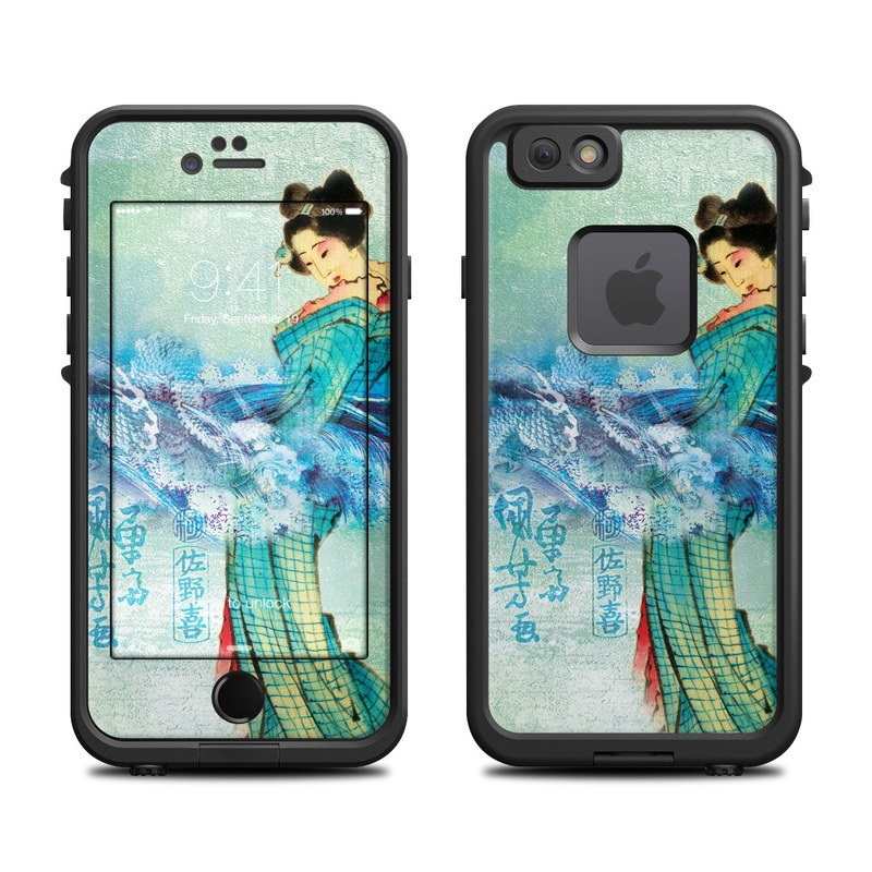 LifeProof iPhone 6s fre Case Skin design of Lady, Aqua, Turquoise, Fashion illustration, Illustration, Watercolor paint, Art, Formal wear, Fashion design, Dress with gray, blue, black, green colors