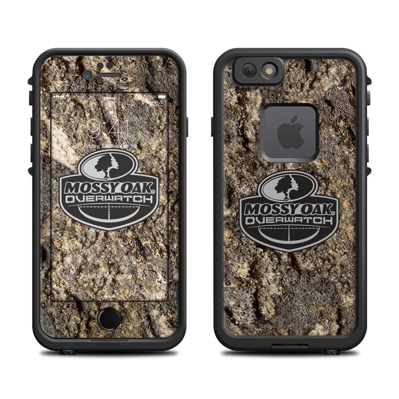 LifeProof iPhone 6s fre Case Skin design of Logo, Rock, Geology, Font, Tree, Soil, Graphics, Wood, Label, Plant with black, gray, red, green colors