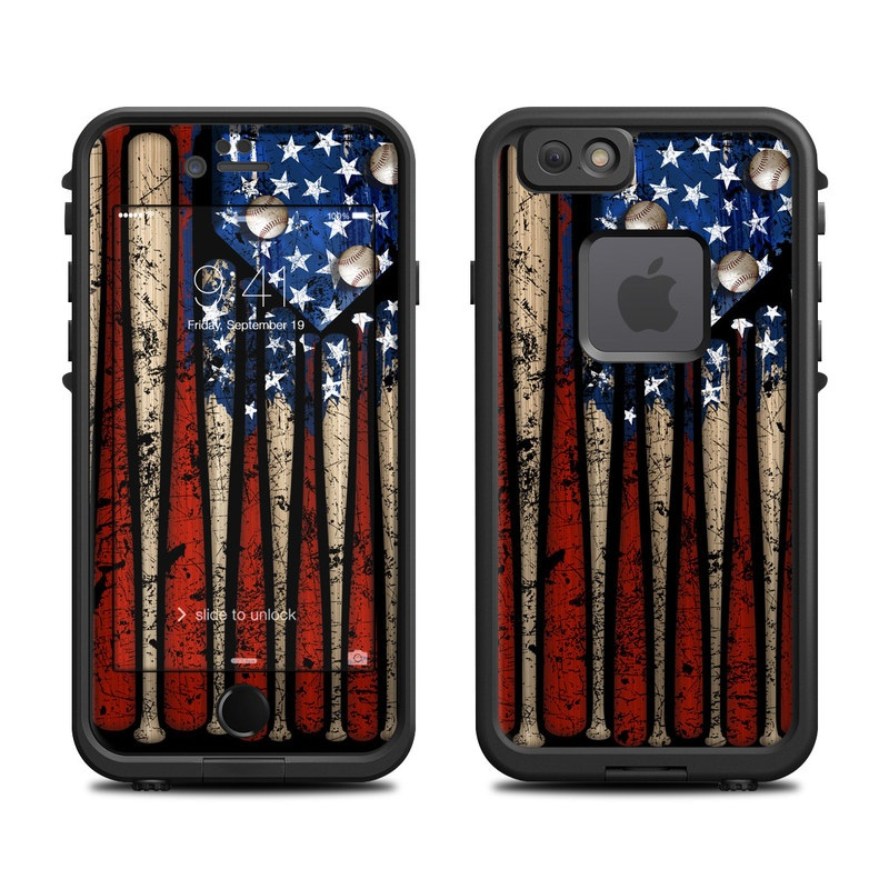 LifeProof iPhone 6s fre Case Skin design of Baseball bat, Baseball equipment with black, red, gray, green, blue colors