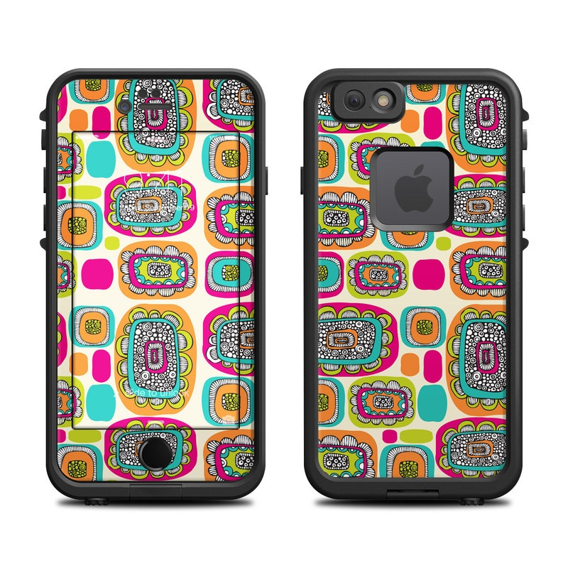 LifeProof iPhone 6s fre Case Skin design of Pattern, Design, Visual arts, Font, Label, Graphics, Art with blue, orange, red, pink, green colors