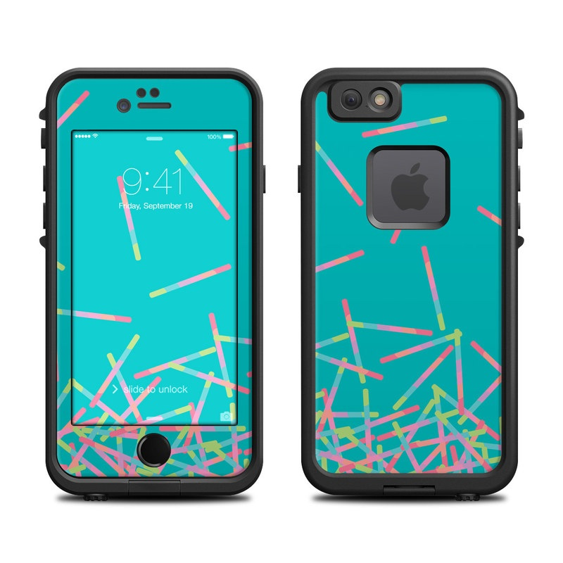 LifeProof iPhone 6s fre Case Skin design of Green, Turquoise, Pattern, Line, Design, Font with blue, gray, pink colors