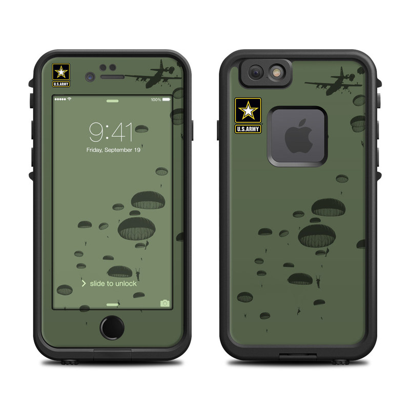LifeProof iPhone 6s fre Case Skin design of Text, Organism, Design, Paratrooper, Pattern, Font, Illustration, Art with black colors