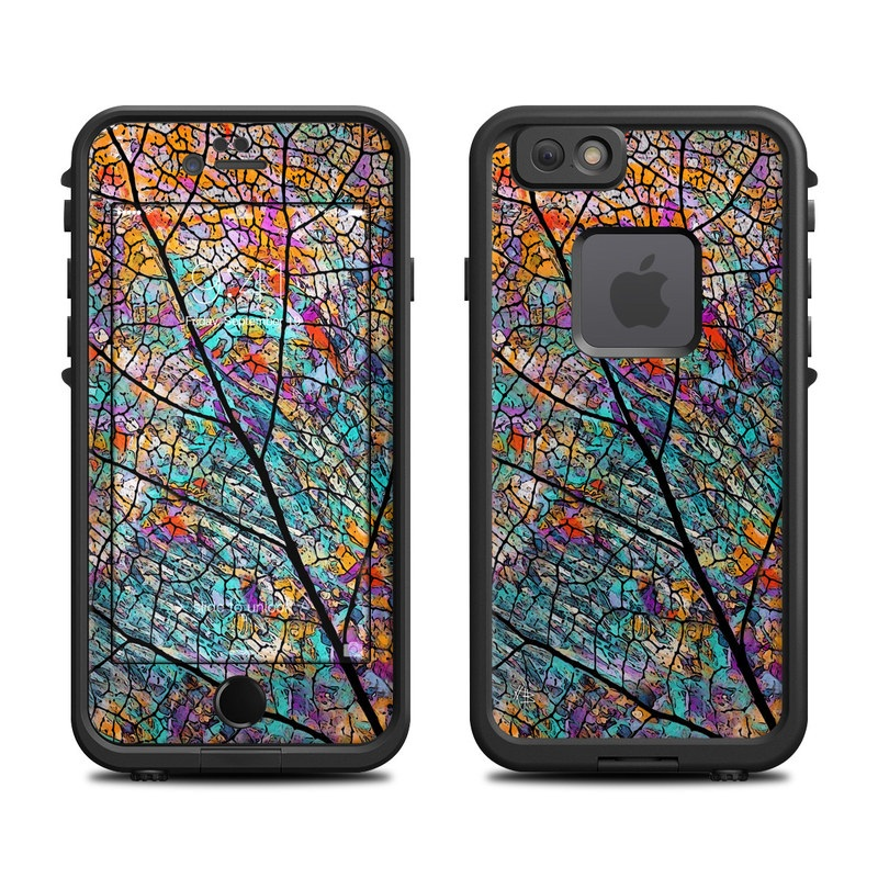 LifeProof iPhone 6s fre Case Skin design of Pattern, Colorfulness, Line, Branch, Tree, Leaf, Design, Visual arts, Glass, Plant with black, gray, red, blue, green colors