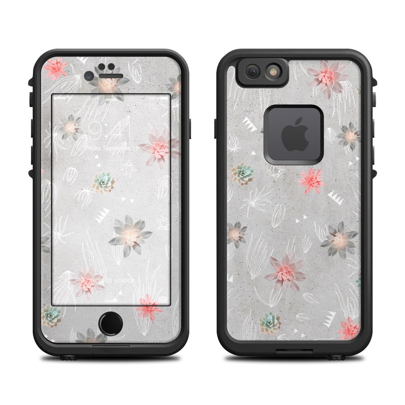LifeProof iPhone 6s fre Case Skin design of Pink, Pattern, Wrapping paper, Textile, Design, Wallpaper, Floral design, Plant, Flower with gray, red, white, pink colors