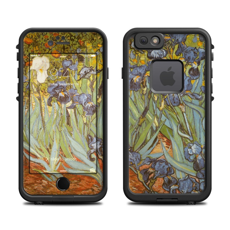 LifeProof iPhone 6s fre Case Skin design of Painting, Plant, Art, Flower, Iris, Modern art, Perennial plant with gray, green, black, red, blue colors