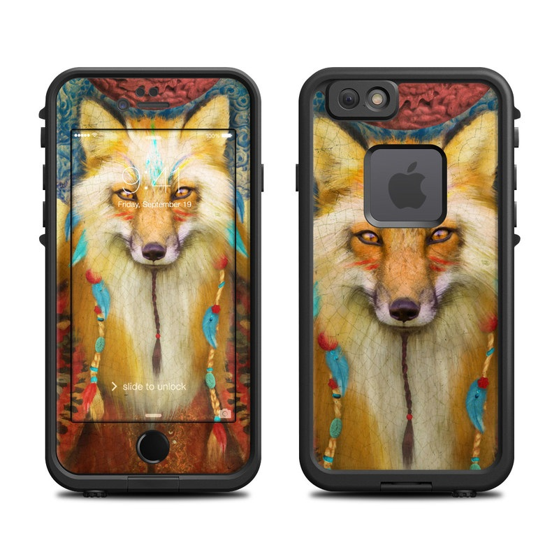 LifeProof iPhone 6s fre Case Skin design of Red fox, Canidae, Fox, Wildlife, Swift fox, Carnivore, Jackal, Fur, Snout, Art with red, black, gray, green, blue colors