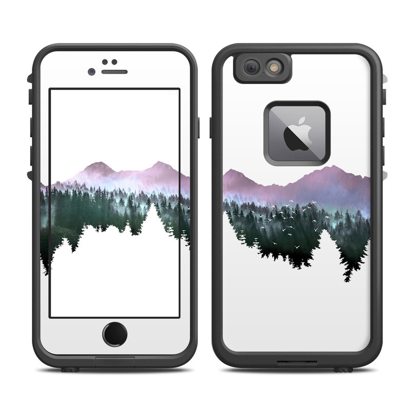 LifeProof iPhone 6s Plus fre Case Skin design of Nature, Mountainous landforms, Mountain, Atmospheric phenomenon, Tree, Wilderness, Sky, Mountain range, Forest, Hill with white, black, purple, blue, green colors