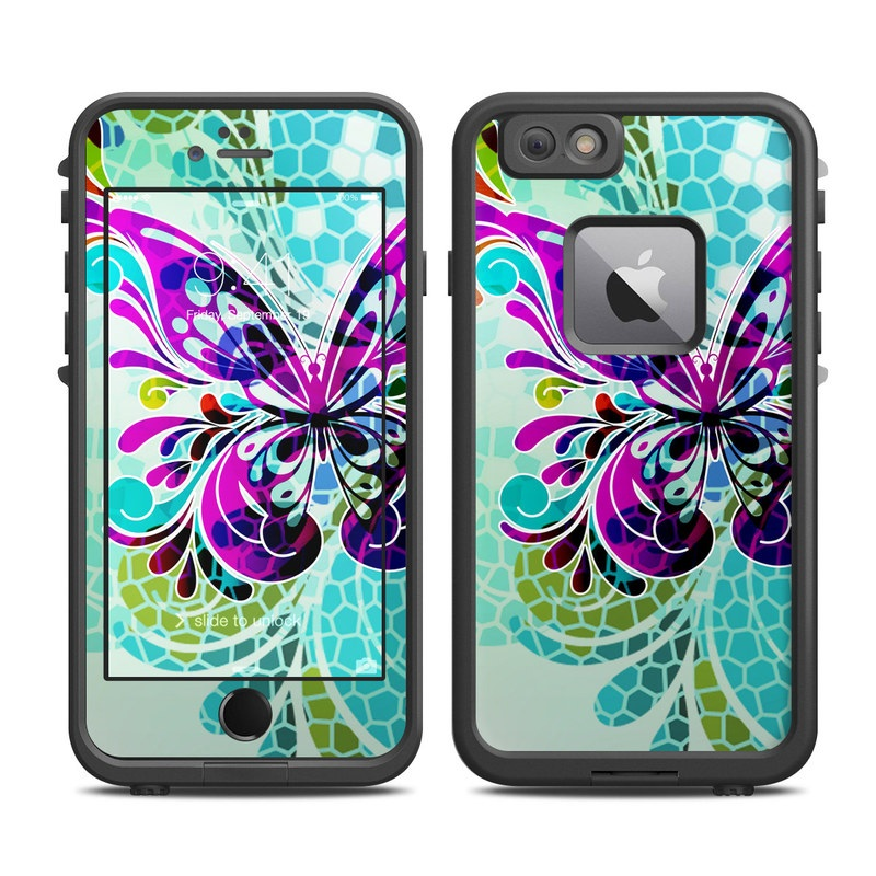 LifeProof iPhone 6s Plus fre Case Skin design of Butterfly, Pattern, Insect, Moths and butterflies, Purple, Graphic design, Design, Pollinator, Visual arts, Magenta with blue, green, purple colors