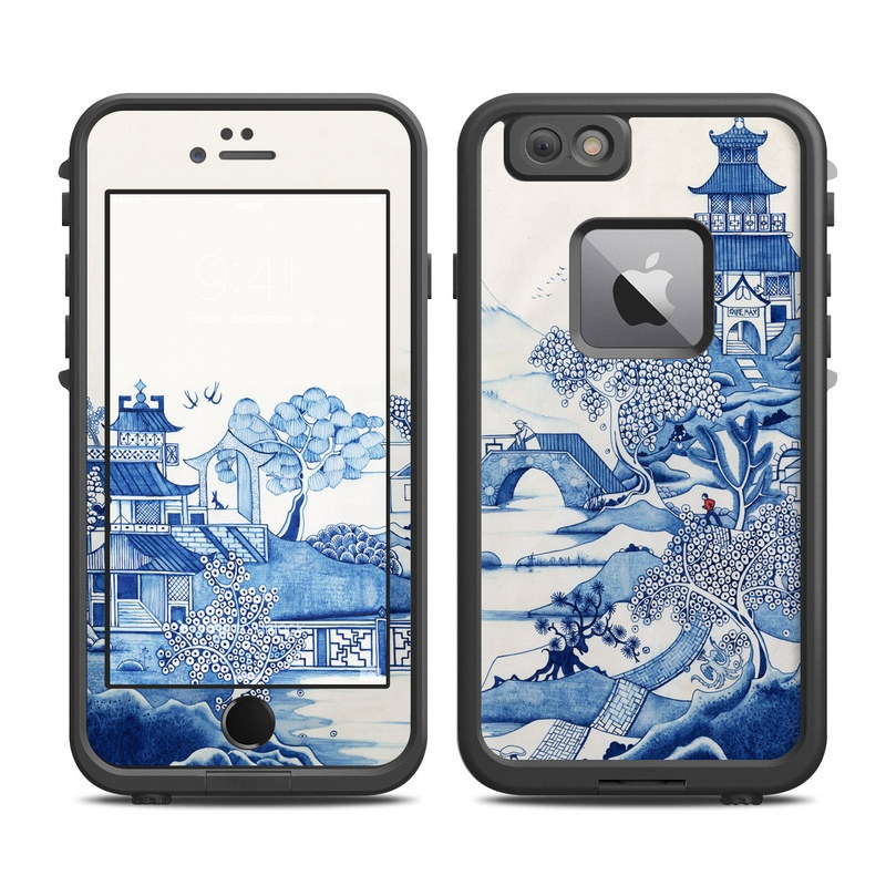 LifeProof iPhone 6s Plus fre Case Skin design of Blue, Blue and white porcelain, Winter, Christmas eve, Illustration, Snow, World, Art with blue, white colors