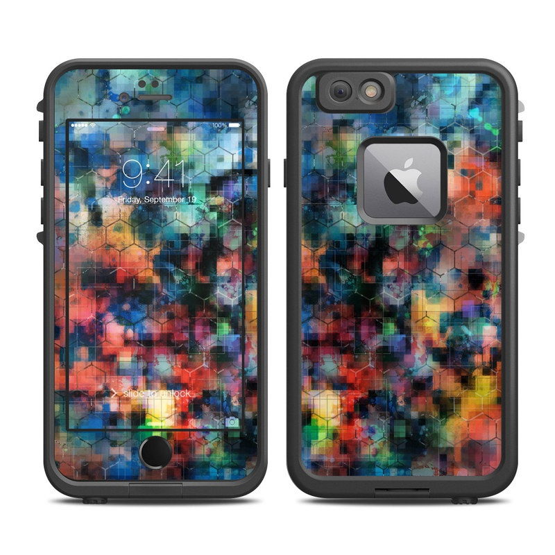LifeProof iPhone 6s Plus fre Case Skin design of Blue, Colorfulness, Pattern, Psychedelic art, Art, Sky, Design, Textile, Dye, Modern art with black, blue, red, gray, green colors