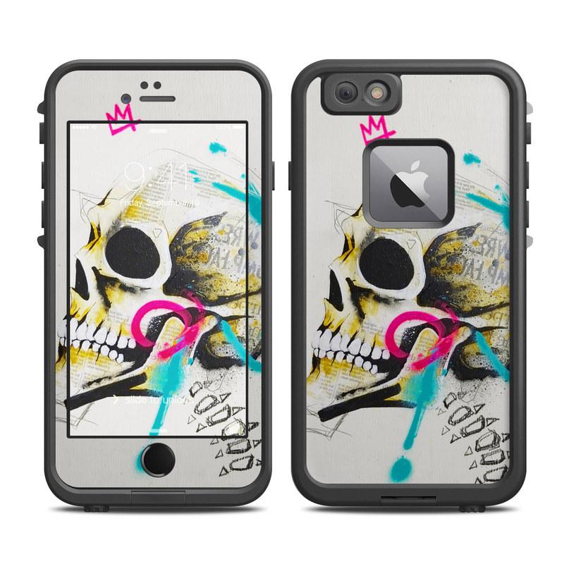 LifeProof iPhone 6s Plus fre Case Skin design of Graphic design, Skull, Illustration, Art, Bone, Drawing, Visual arts, Font, Modern art, Street art with blue, pink, yellow, black colors