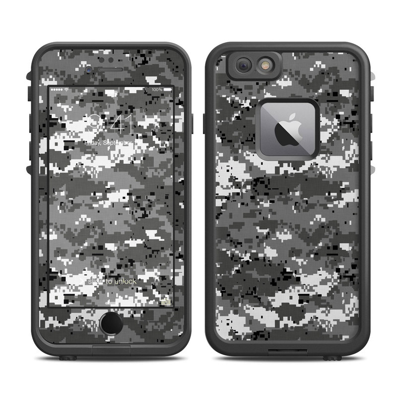 LifeProof iPhone 6s Plus fre Case Skin design of Military camouflage, Pattern, Camouflage, Design, Uniform, Metal, Black-and-white with black, gray colors