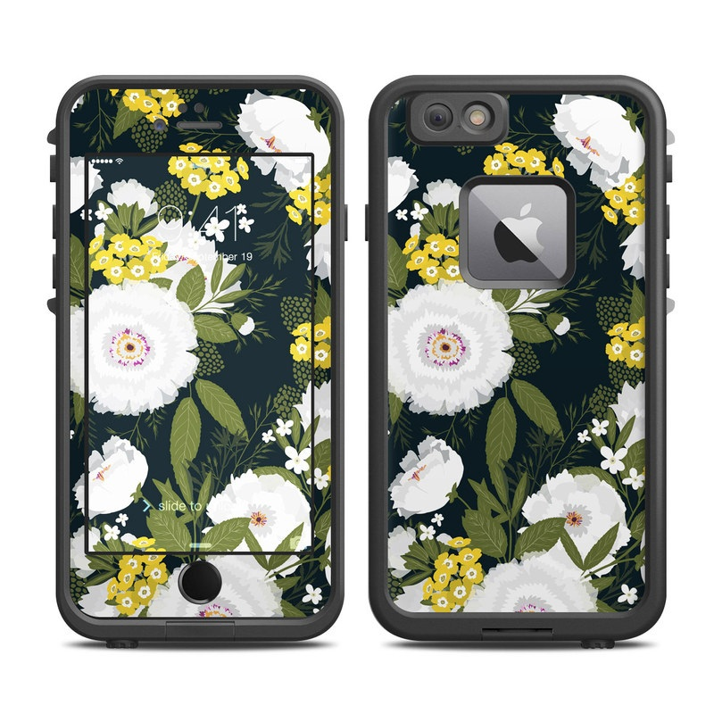 LifeProof iPhone 6s Plus fre Case Skin design of Flower, Flowering plant, Plant, Petal, Daisy, mayweed, Wildflower, Floral design, Annual plant with green, yellow, white, orange colors