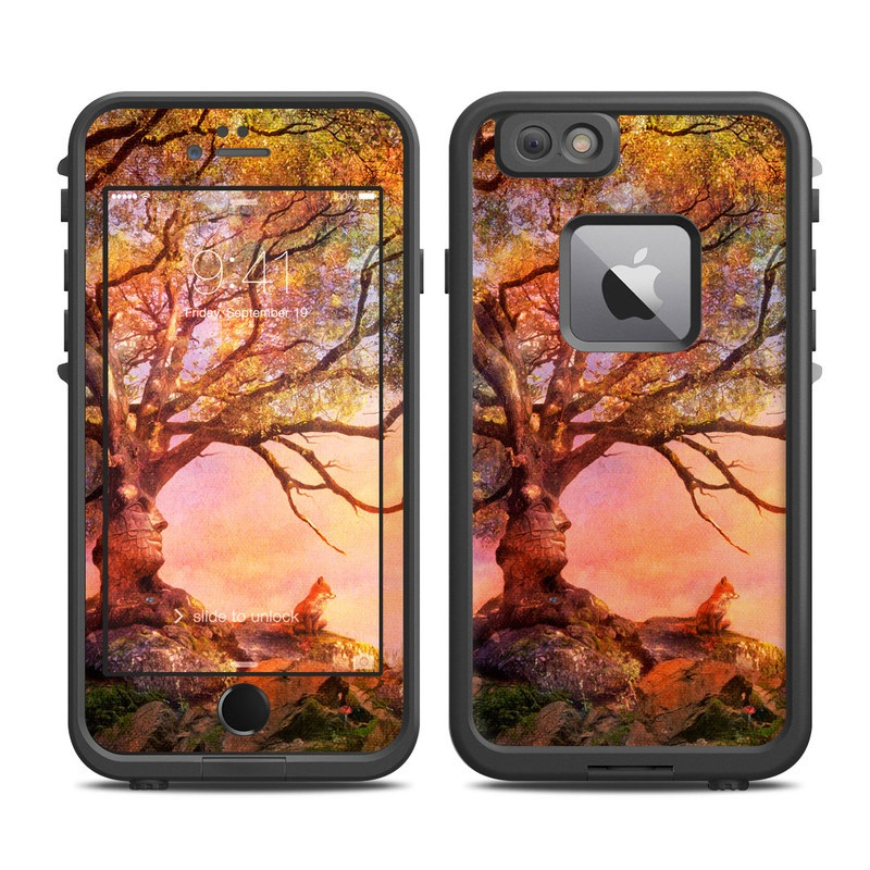 LifeProof iPhone 6s Plus fre Case Skin design of Nature, Tree, Sky, Natural landscape, Branch, Leaf, Woody plant, Trunk, Landscape, Plant with pink, red, black, green, gray, orange colors