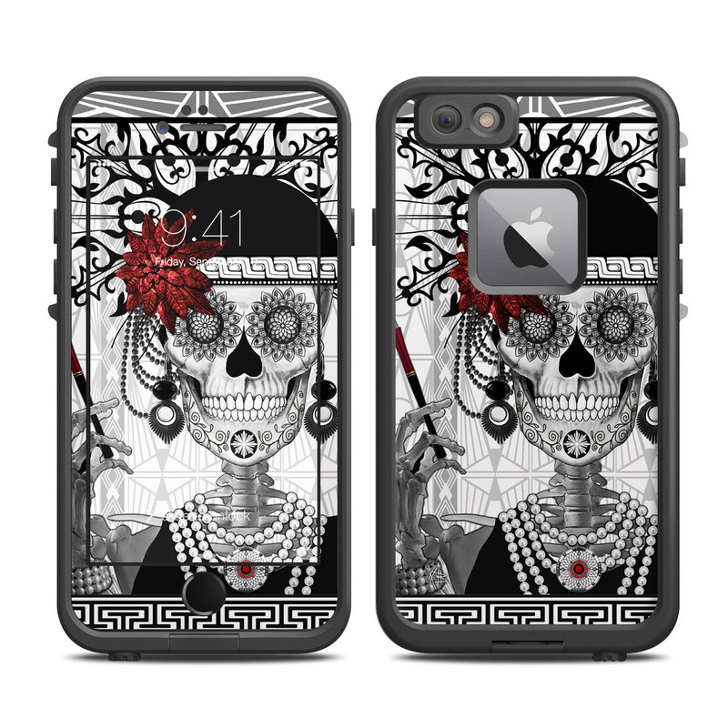 LifeProof iPhone 6s Plus fre Case Skin design of Illustration, Poster, Font, Graphic design, Fictional character, Art, Black-and-white, Monochrome, Style, Printmaking with black, white, red colors