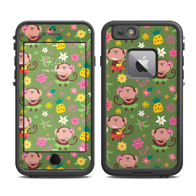 LifeProof iPhone 6s Plus fre Case Skin design of Cartoon, Pattern, Wrapping paper, Pink, Illustration, Design, Textile, Smile, Art with green, gray, purple, black, red colors