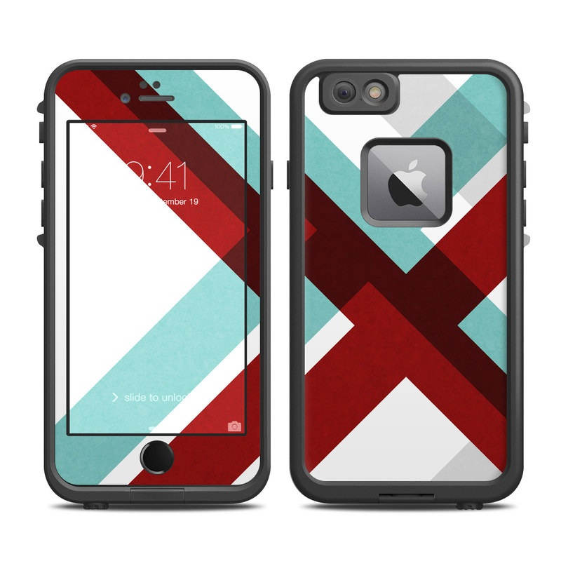 LifeProof iPhone 6s Plus fre Case Skin design of Turquoise, Line, Pattern, Teal, Graphic design, Design, Flag, Font, Graphics, Parallel with red, blue, gray, white colors