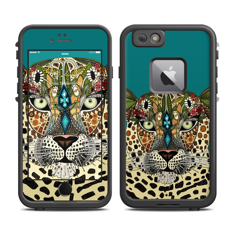 LifeProof iPhone 6s Plus fre Case Skin design of Leopard, Felidae, Wildlife, Jaguar, Whiskers, Terrestrial animal, African leopard, Big cats, Illustration, Carnivore with black, blue, gray, green, red colors