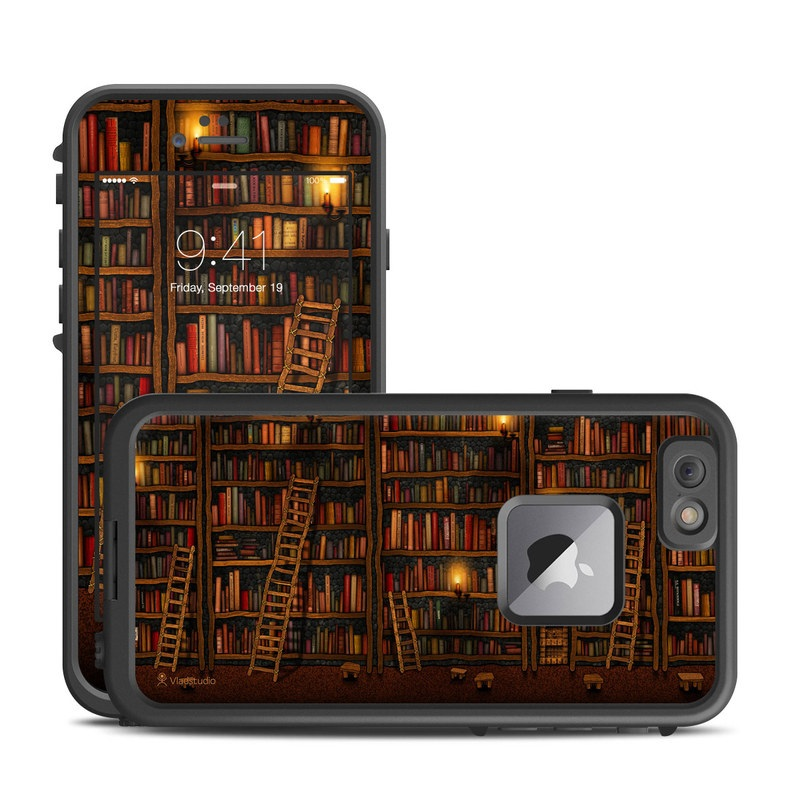 LifeProof iPhone 6s Plus fre Case Skin design of Shelving, Library, Bookcase, Shelf, Furniture, Book, Building, Publication, Room, Darkness with black, red colors
