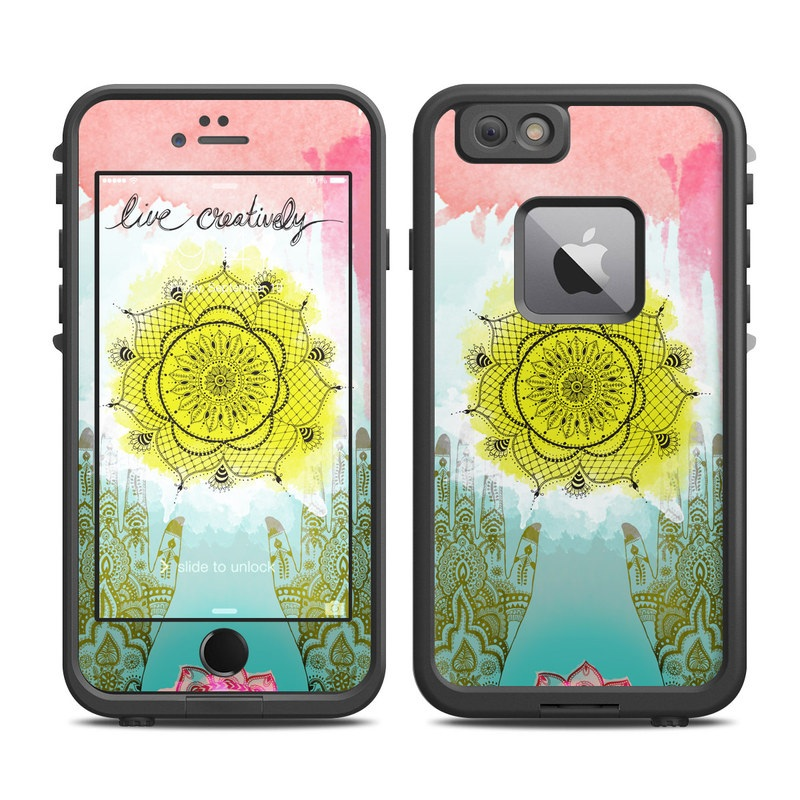 LifeProof iPhone 6s Plus fre Case Skin design of Text, Illustration, Organism, Textile, Pattern, Art, Visual arts, Plant, Floral design, Flower with yellow, blue, pink, black, brown colors
