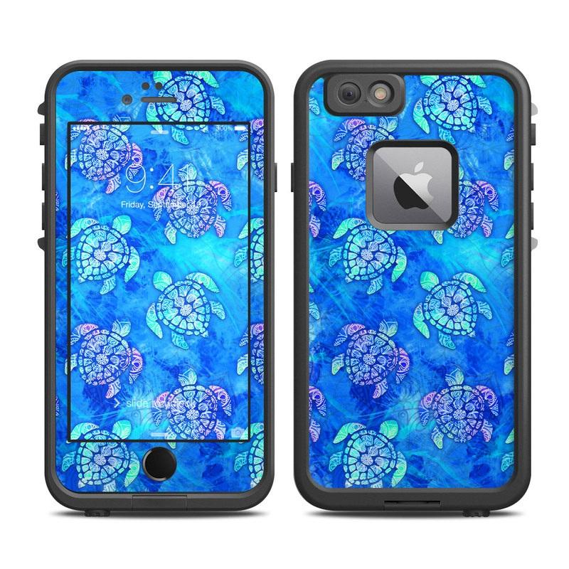 LifeProof iPhone 6s Plus fre Case Skin design of Blue, Pattern, Organism, Design, Sea turtle, Plant, Electric blue, Hydrangea, Flower, Symmetry with blue, green, purple colors