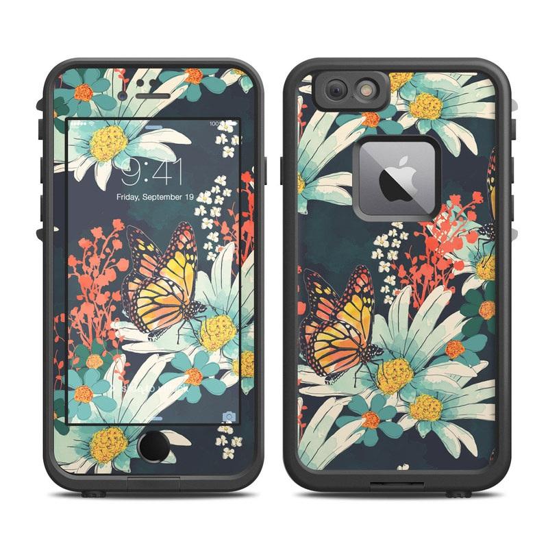 LifeProof iPhone 6s Plus fre Case Skin design of Floral design, Pattern, Flower, Floristry, Textile, Botany, Plant, Visual arts, Design, Flower Arranging with black, gray, green, red, blue, pink colors