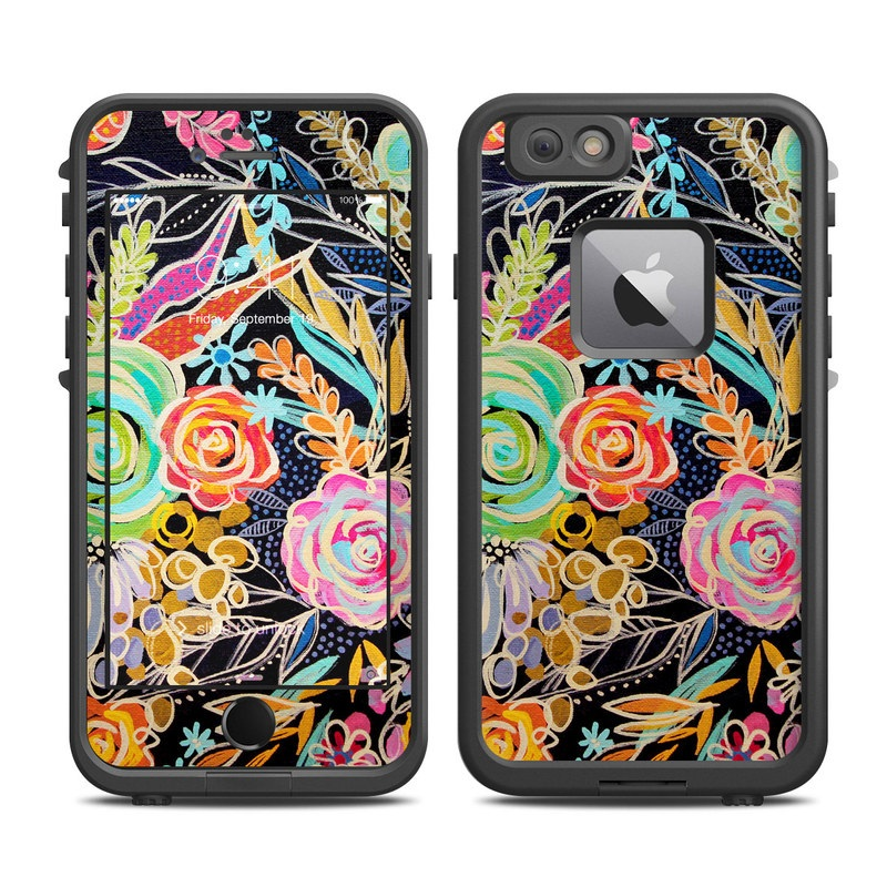 LifeProof iPhone 6s Plus fre Case Skin design of Pattern, Floral design, Design, Textile, Visual arts, Art, Graphic design, Psychedelic art, Plant with black, gray, green, red, blue colors