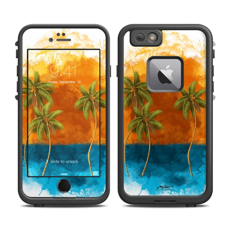 LifeProof iPhone 6s Plus fre Case Skin design of Palm tree, Watercolor paint, Arecales, Leaf, Tree, Tropics, Plant, Illustration, Art, Paint with red, blue, green, orange, black, pink colors