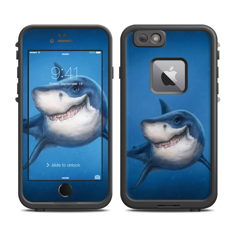 LifeProof iPhone 6s Plus fre Case Skin design of Fish, Great white shark, Shark, Tiger shark, Cartilaginous fish, Requiem shark, Lamniformes, Bull shark, Carcharhiniformes with black, blue, gray colors