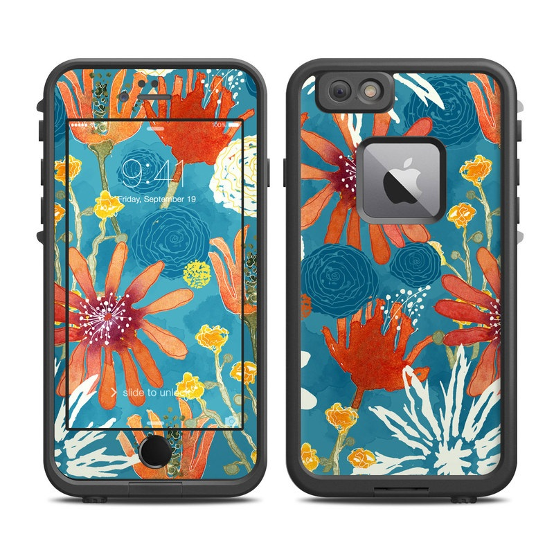 LifeProof iPhone 6s Plus fre Case Skin design of Pattern, Visual arts, Wrapping paper, Design, Wildflower, Floral design, Textile, Flower, Plant, Motif with blue, red, gray, yellow, green colors
