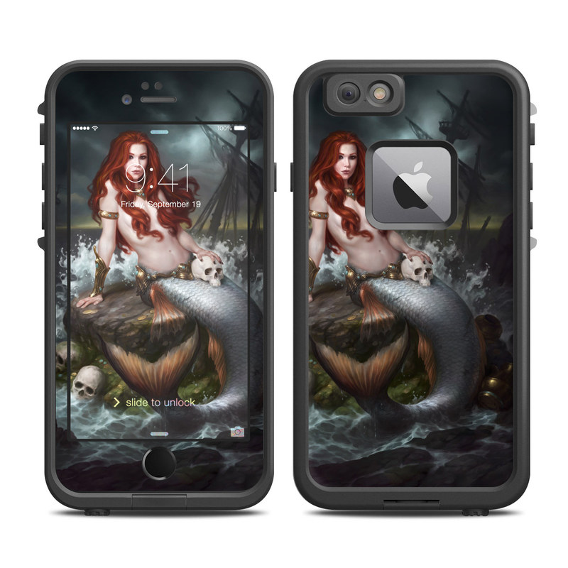 LifeProof iPhone 6s Plus fre Case Skin design of Mermaid, Cg artwork, Illustration, Fictional character, Mythology, Mythical creature, Art, Long hair, Woman warrior, Sitting with black, brown, red, yellow, white, gray colors