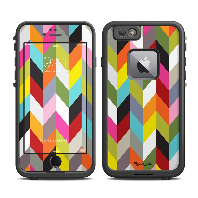 LifeProof iPhone 6s Plus fre Case Skin design of Pattern, Orange, Line, Design, Graphic design, Tints and shades, Triangle with red, green, gray, black, blue, purple colors