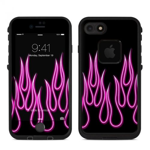 Pink Neon Flames LifeProof iPhone 7 fre Skin