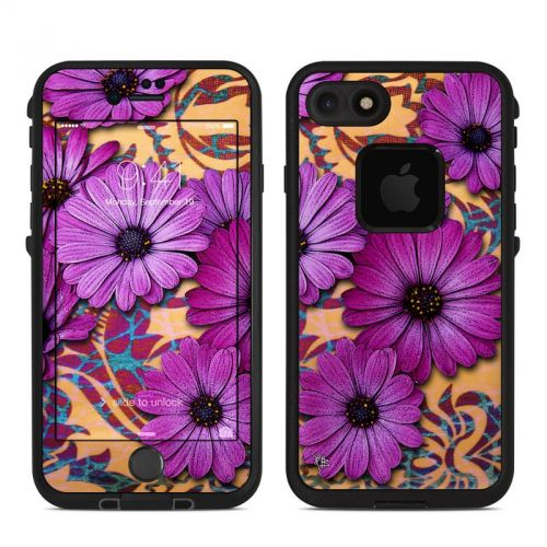 Purple Daisy Damask LifeProof iPhone 7 fre Skin