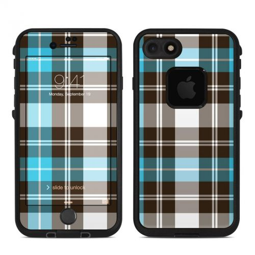 Turquoise Plaid LifeProof iPhone 7 fre Skin