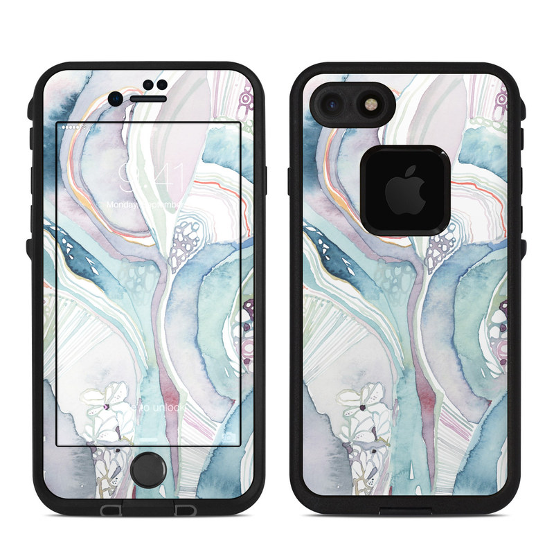 LifeProof iPhone 8 fre Case Skin design of Watercolor paint, Plant, Art, Illustration, Flower with blue, purple, pink, red, orange colors