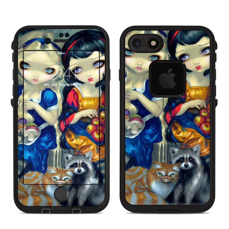LifeProof iPhone 8 fre Case Skin design of Doll, Cartoon, Illustration, Cat, Art, Fawn, Toy, Fictional character, Whiskers with blue, yellow, red, orange, gray colors