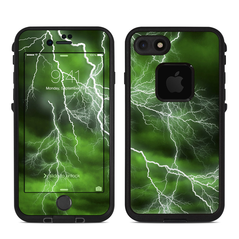 LifeProof iPhone 8 fre Case Skin design of Thunderstorm, Thunder, Lightning, Nature, Green, Water, Sky, Atmosphere, Atmospheric phenomenon, Daytime with green, black, white colors