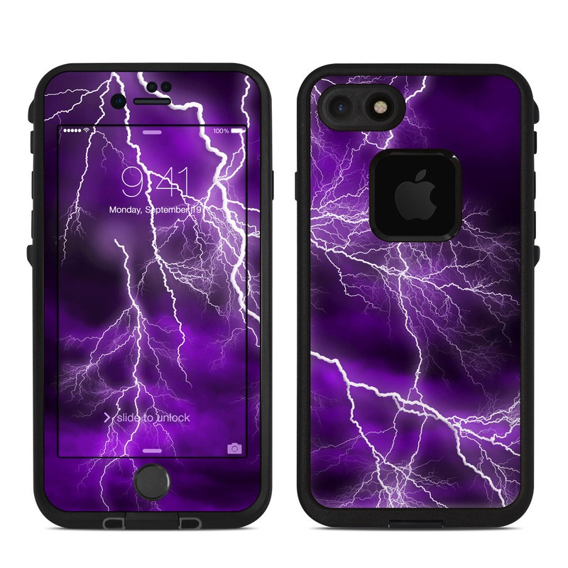 LifeProof iPhone 8 fre Case Skin design of Thunder, Lightning, Thunderstorm, Sky, Nature, Purple, Violet, Atmosphere, Storm, Electric blue with purple, black, white colors