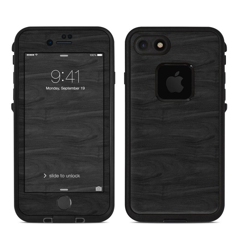 LifeProof iPhone 8 fre Case Skin design of Black, Brown, Wood, Grey, Flooring, Floor, Laminate flooring, Wood flooring with black colors