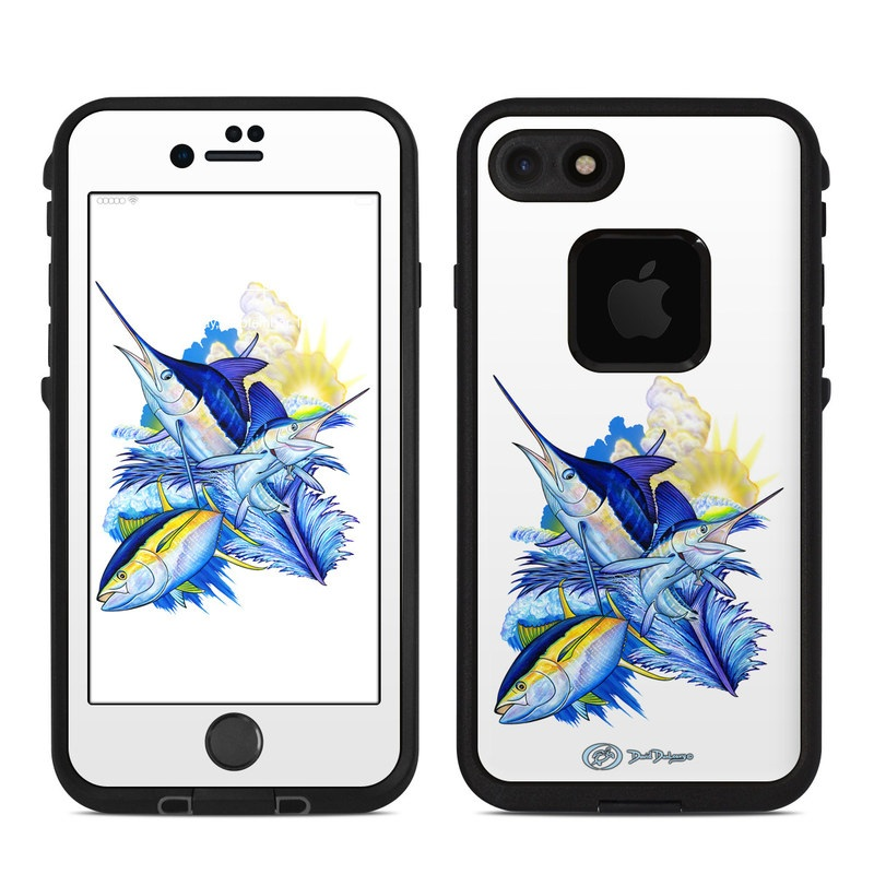 Blue White and Yellow LifeProof iPhone 8 fre Case Skin