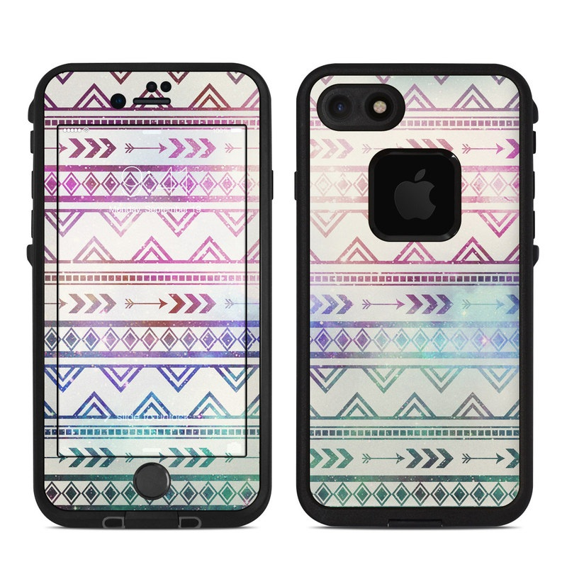 LifeProof iPhone 8 fre Case Skin design of Pattern, Line, Teal, Design, Textile with gray, pink, yellow, blue, black, purple colors