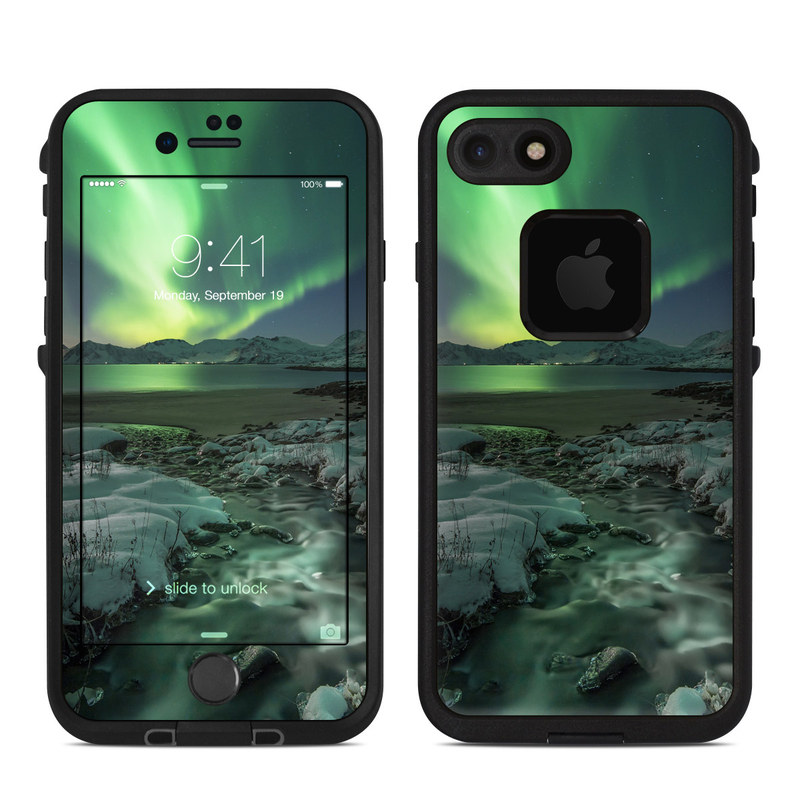 LifeProof iPhone 8 fre Case Skin design of Nature, Aurora, Sky, Geological phenomenon, Water, Atmosphere, Space, Landscape, World, Glacier with white, green, blue, black, gray colors