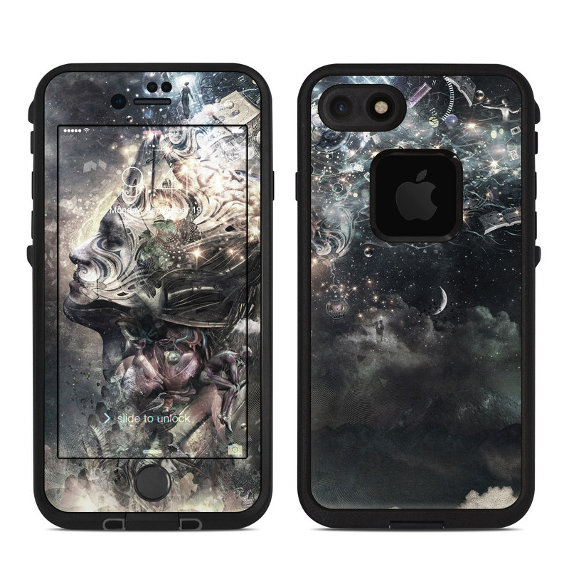 LifeProof iPhone 8 fre Case Skin design of Space, Cg artwork, Art, Sky, Darkness, Illustration, Graphic design, Outer space, Graphics, Animation with white, black, gray, yellow colors