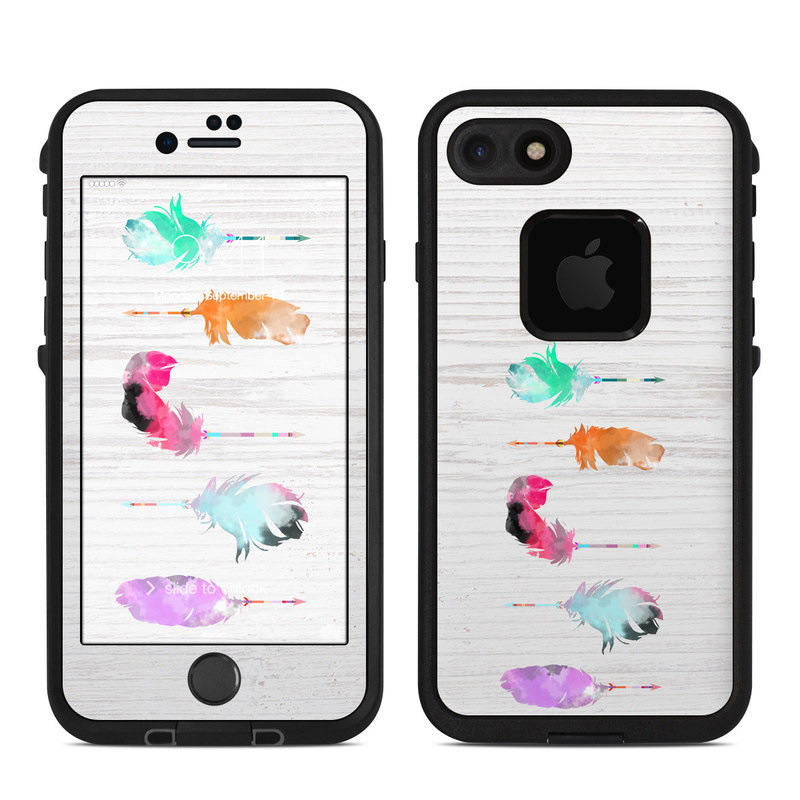 LifeProof iPhone 8 fre Case Skin design of Pink, Watercolor paint, Illustration, Feather, Design, Art, Painting, Graphic design, Visual arts, Drawing with white, orange, red, blue, pink, purple, green colors
