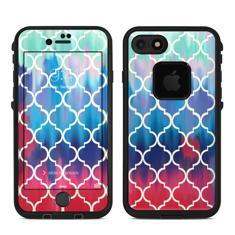 LifeProof iPhone 8 fre Case Skin design of Blue, Pattern, Turquoise, Aqua, Teal, Line, Symmetry, Electric blue, Design, Circle with gray, blue, yellow, black, green colors